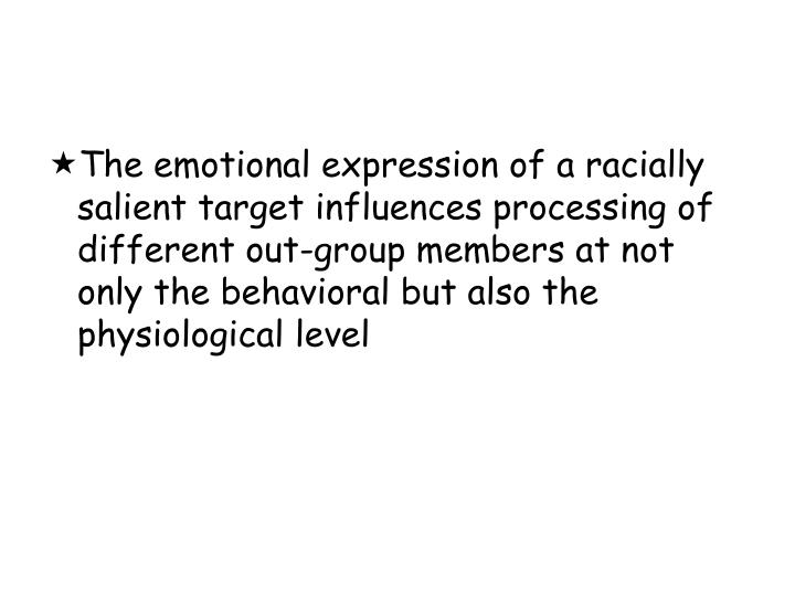 The emotional expression of a racially salient target influences processing of different out-group members at not only the behavioral but also the physiological level