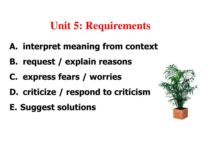 Unit 5 requirements
