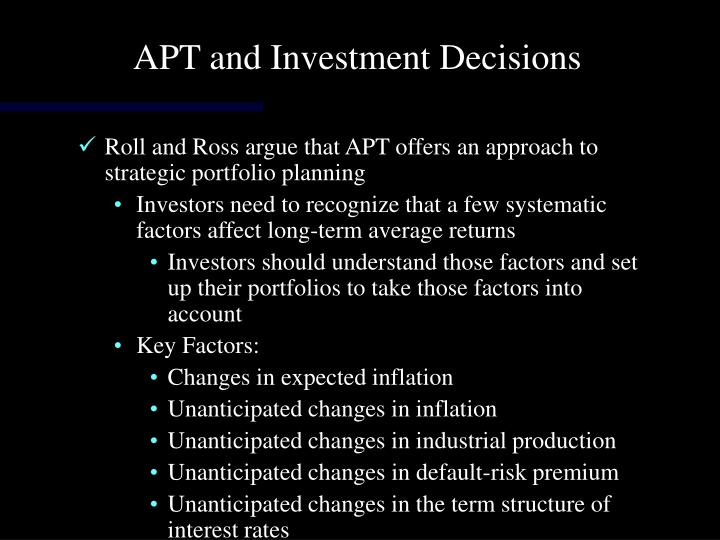 APT and Investment Decisions