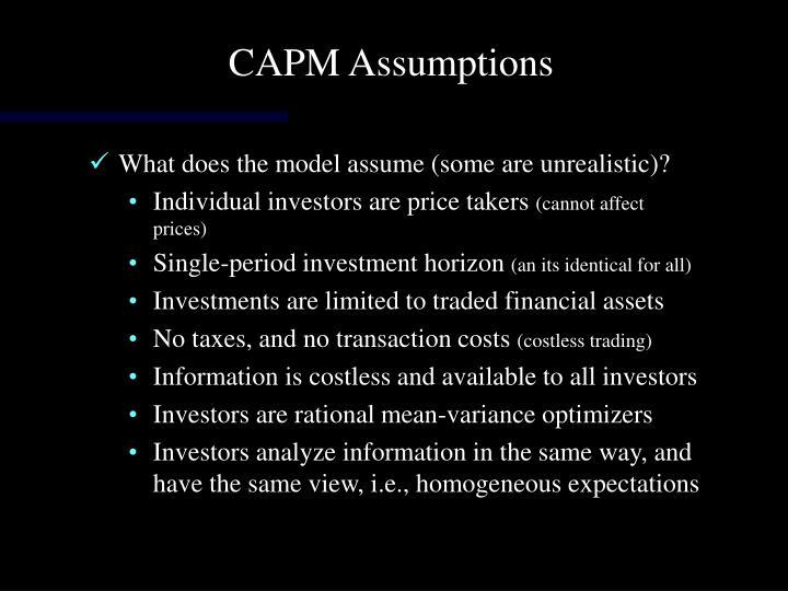 CAPM Assumptions