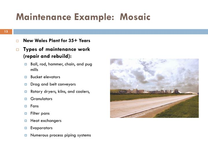 Maintenance Example:  Mosaic