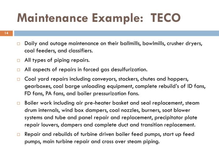 Maintenance Example:  TECO