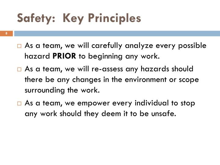 Safety:  Key Principles