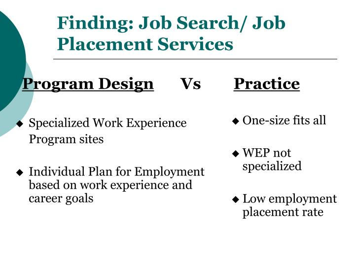 Finding: Job Search/ Job Placement Services