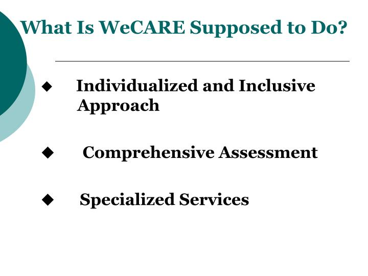 What Is WeCARE Supposed to Do?
