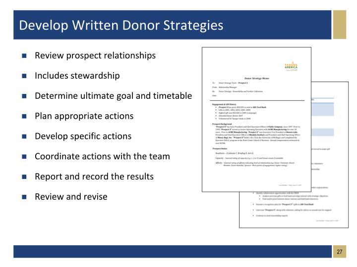 Develop Written Donor Strategies