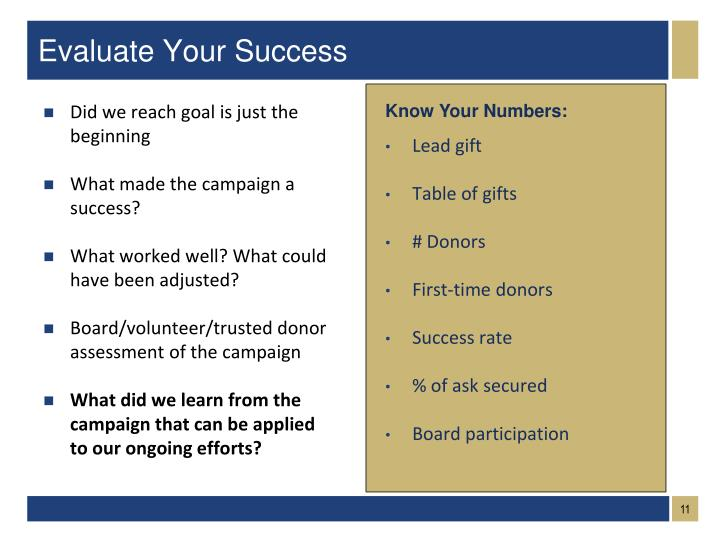 Evaluate Your Success