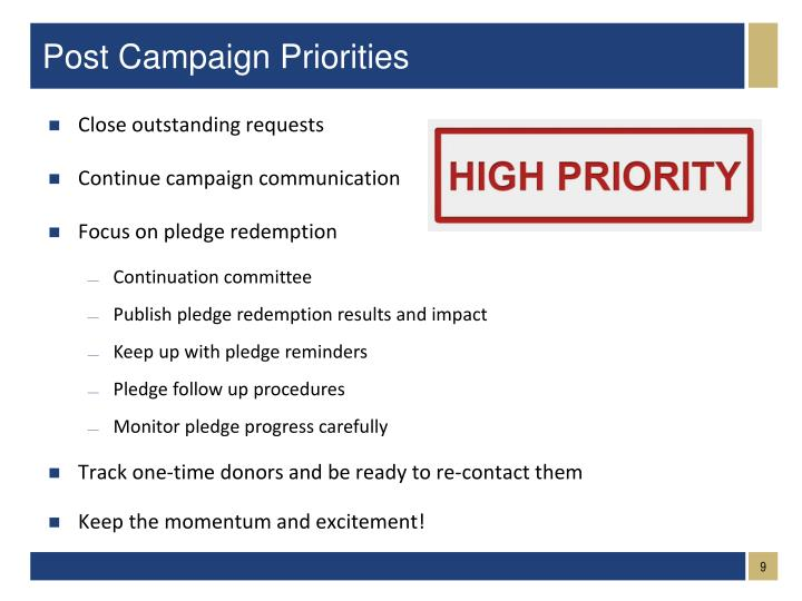 Post Campaign Priorities