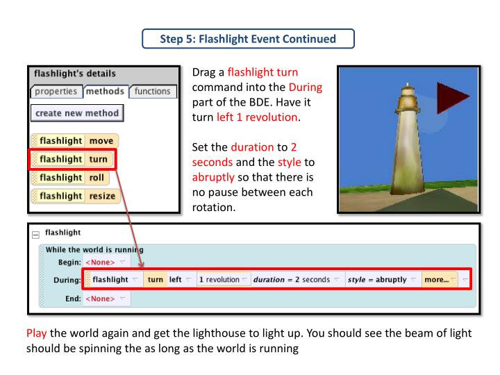 Step 5: Flashlight Event Continued