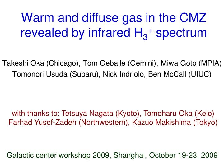 warm and diffuse gas in the cmz revealed by infrared h 3 spectrum n.