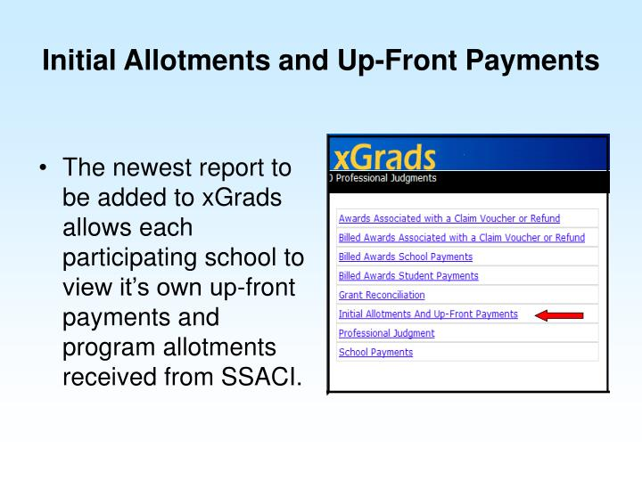 Initial Allotments and Up-Front Payments