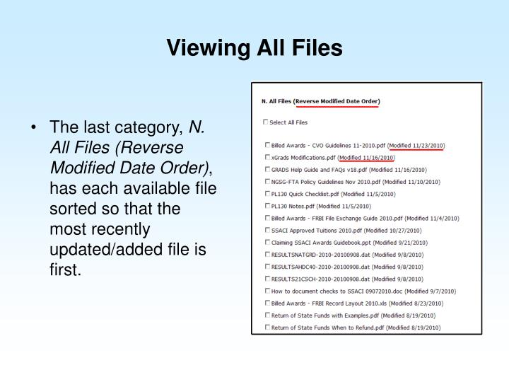 Viewing All Files