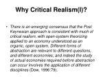 why critical realism i
