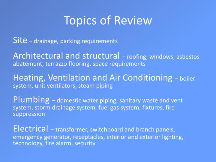 Topics of Review