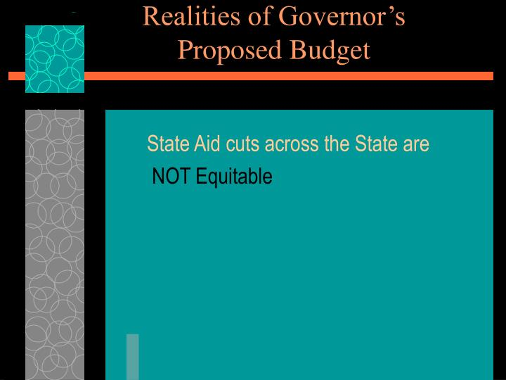 Realities of governor s proposed budget