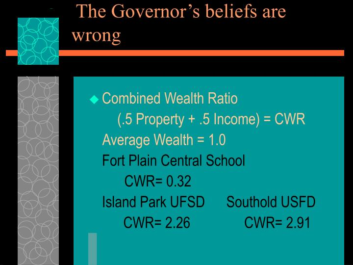The Governor's beliefs are wrong