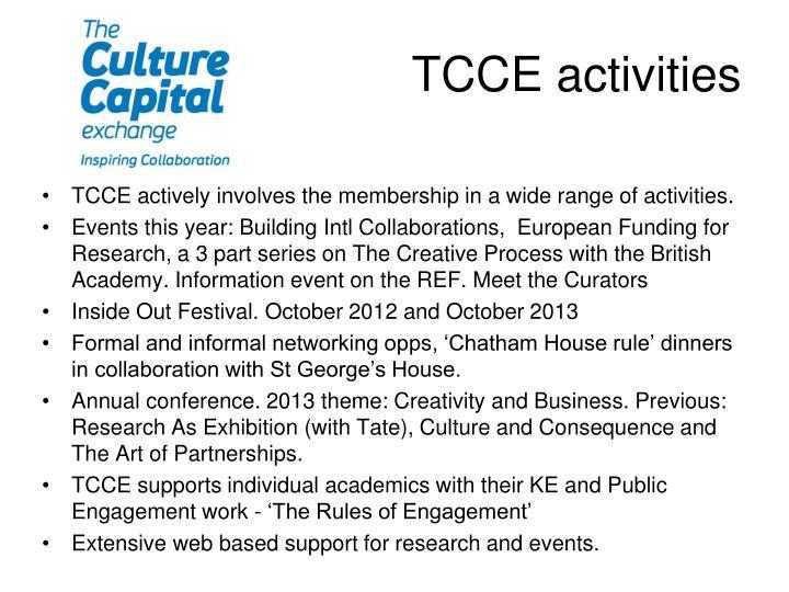 TCCE activities