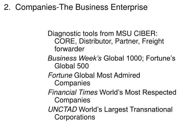 2.  Companies-The Business Enterprise