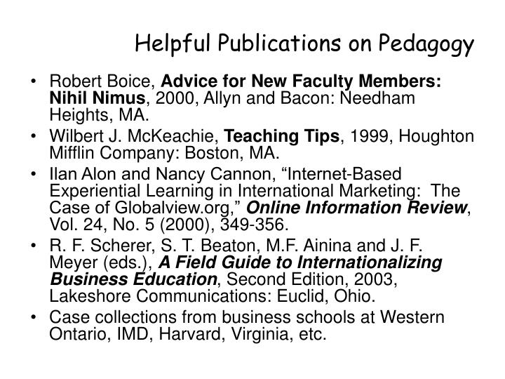 Helpful Publications on Pedagogy