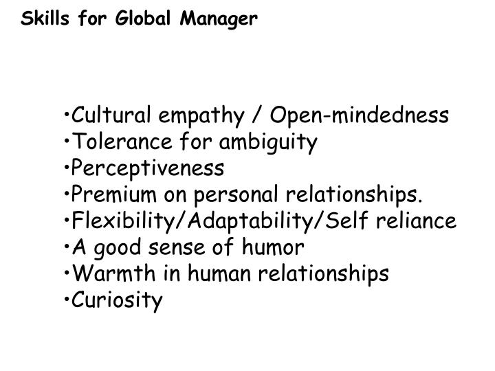 Skills for Global Manager