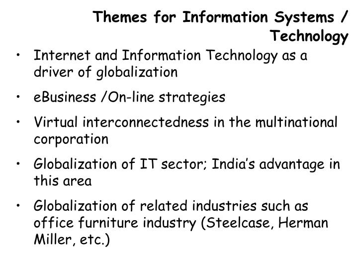 Themes for Information Systems / Technology