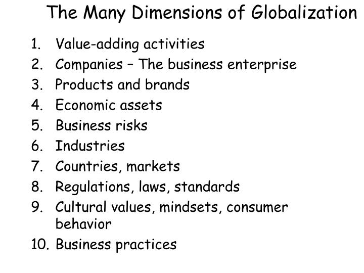 The Many Dimensions of Globalization