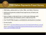 frb dallas payments fraud survey