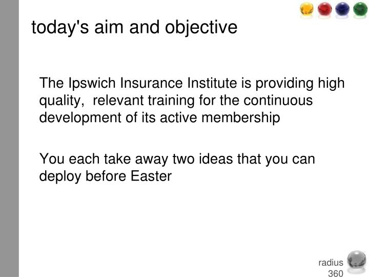 Today s aim and objective