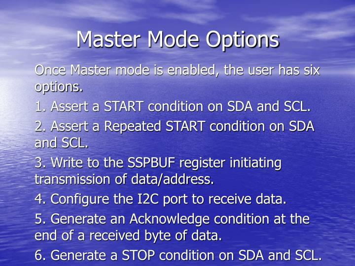 Master Mode Options