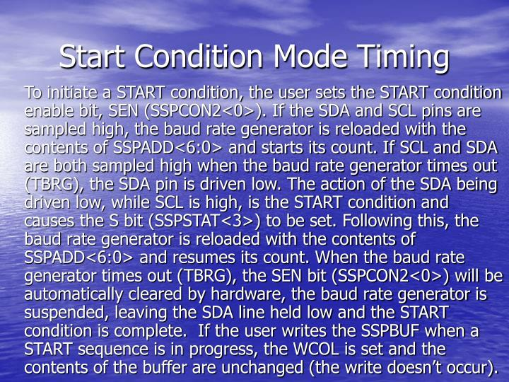 Start Condition Mode Timing