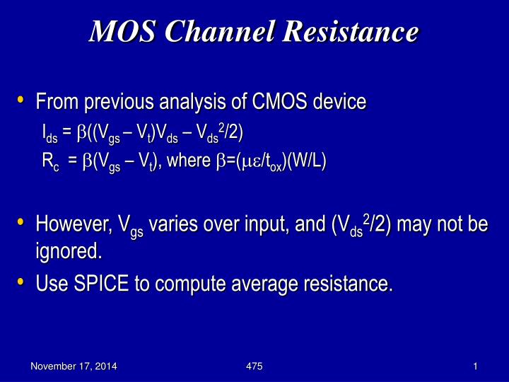 mos channel resistance n.