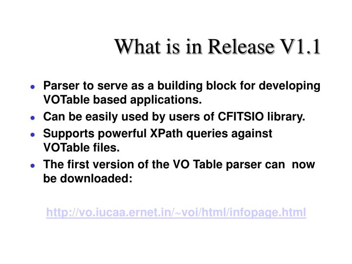 What is in Release V1.1
