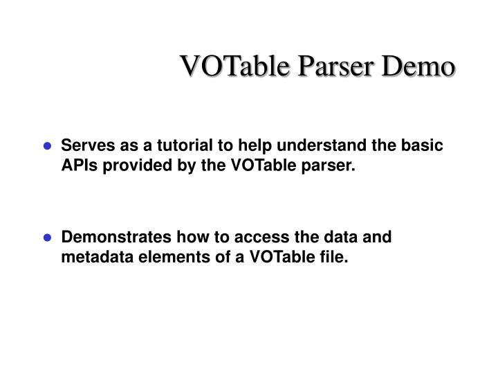 VOTable Parser Demo