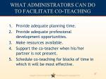 what administrators can do to facilitate co teaching