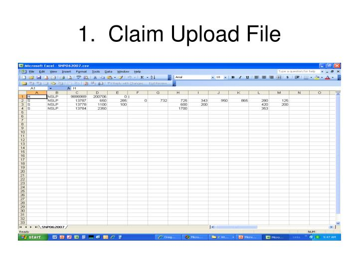 1 claim upload file