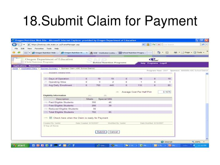18.Submit Claim for Payment
