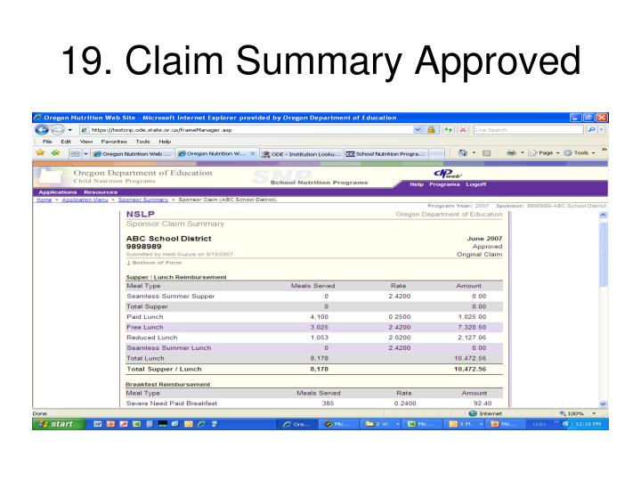 19. Claim Summary Approved