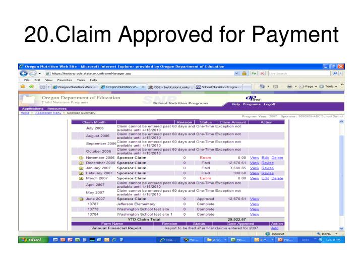 20.Claim Approved for Payment