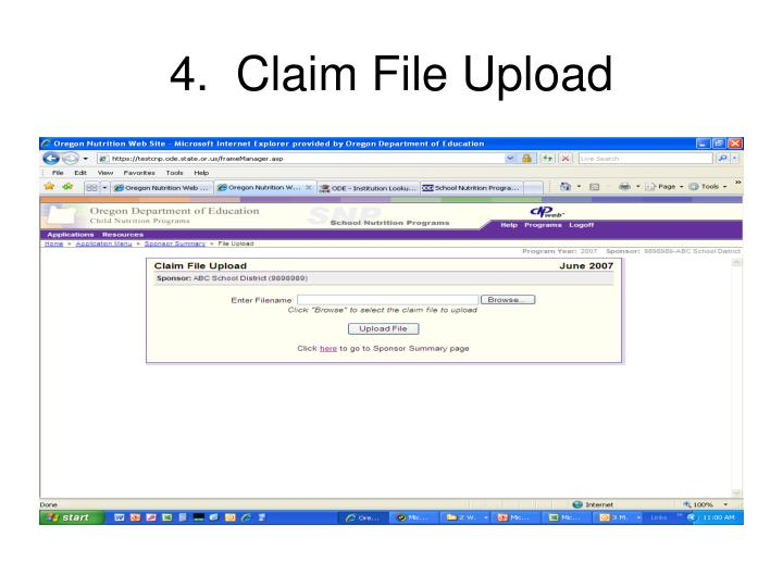 4.  Claim File Upload