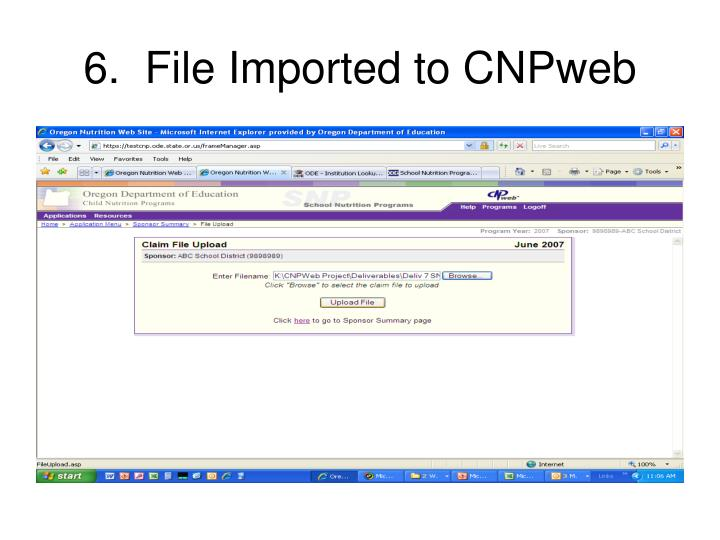 6.  File Imported to CNPweb