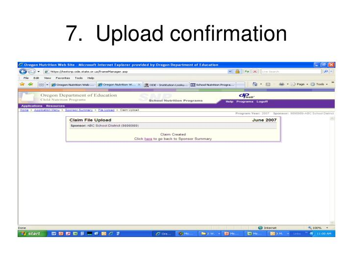 7.  Upload confirmation