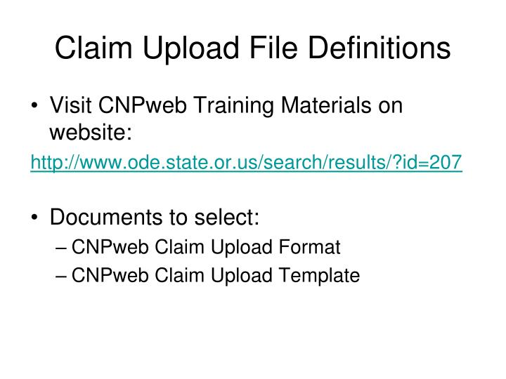 Claim upload file definitions