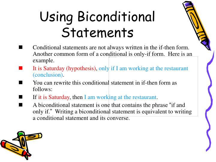 Using Biconditional Statements