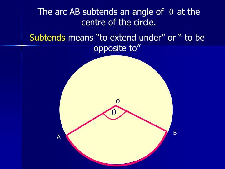 The arc AB subtends an angle of
