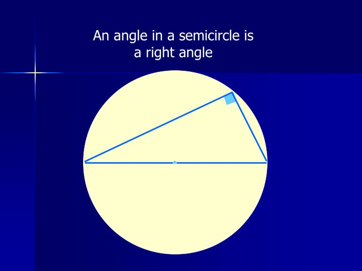 An angle in a semicircle is a right angle