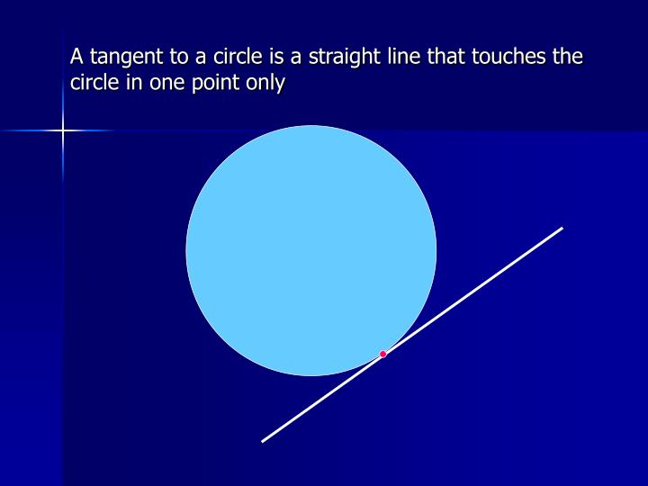 A tangent to a circle is a straight line that touches the circle in one point only
