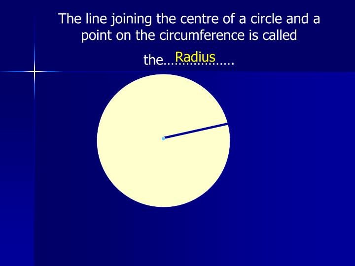 The line joining the centre of a circle and a point on the circumference is called