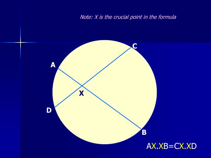 Note: X is the crucial point in the formula