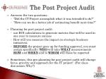 the post project audit