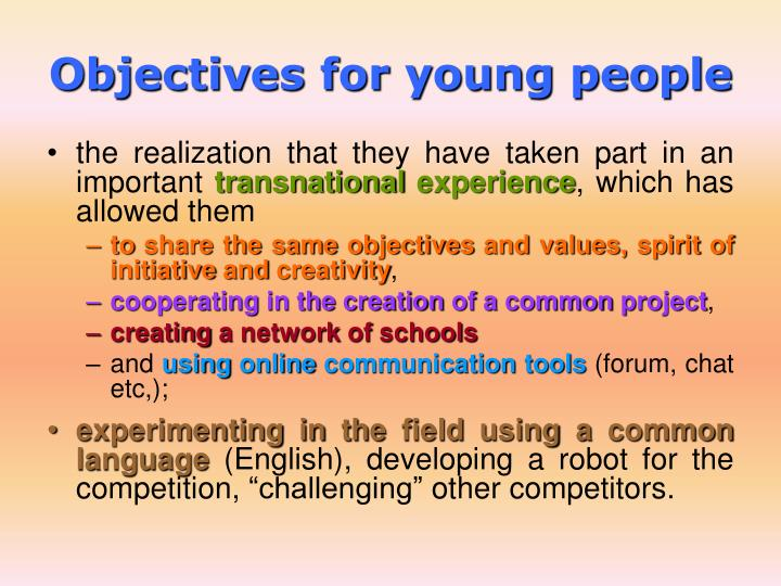 Objectives for young people